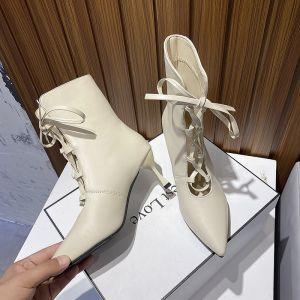 Fashion Beige Street Wear Womens Boots 2020 7 cm Stiletto Heels Pointed Toe Boots