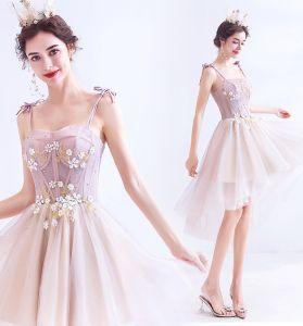 Chic / Belle Rougissant Rose Robe De Fete 2020 Princesse Bretelles Spaghetti Perlage Faux Diamant Appliques Sans Manches Dos Nu Asymétrique Robe De Ceremonie