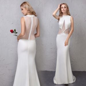 Chic / Beautiful Ivory Evening Dresses  2019 Trumpet / Mermaid See-through Handmade  Beading Tassel Scoop Neck Sleeveless Sweep Train Formal Dresses
