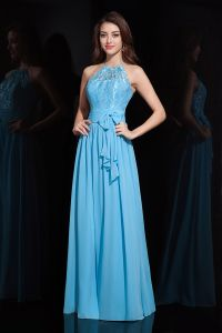 2015 Gorgeous A-line Halter Floor-Length Blue Lace Evening Dress