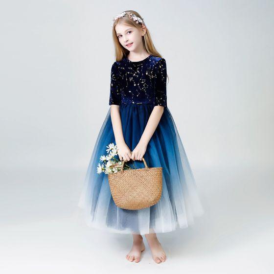 Gwiaździste Niebo Granatowe Sukienki Dla Dziewczynek 2019 Princessa Wycięciem 1/2 Rękawy Cekinami Cekiny Długość Kostki Wzburzyć Sukienki Na Wesele