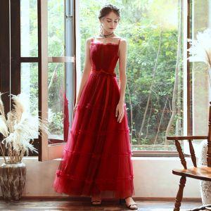 Erschwinglich Rot Abendkleider 2020 A Linie Spaghettiträger Ärmellos Stoffgürtel Lange Rüschen Rückenfreies Festliche Kleider
