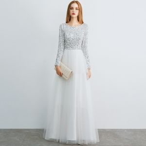 Affordable Ivory Evening Dresses  2019 A-Line / Princess Scoop Neck Long Sleeve Glitter Sequins Floor-Length / Long Ruffle Formal Dresses