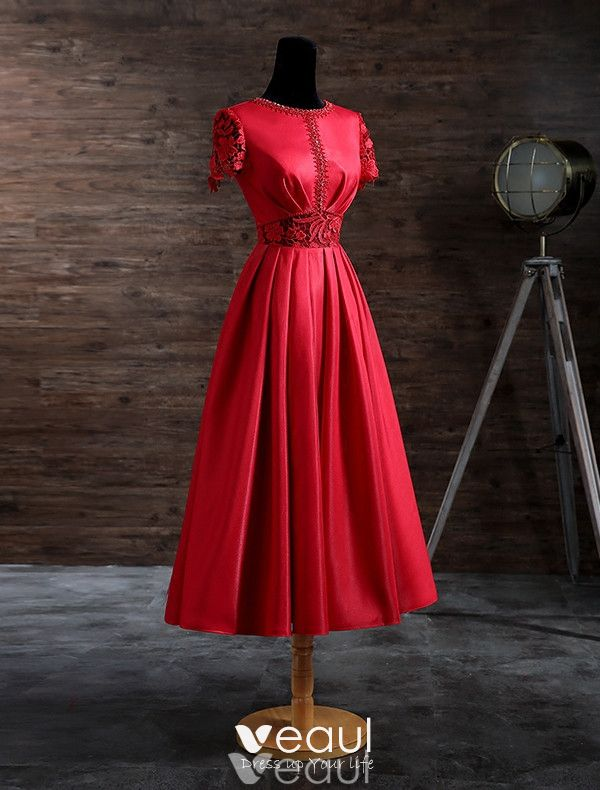 Elegant Evening Dresses 2017 Beading Scoop Neckline Lace Sash And Sleeves Red Satin Tea-length Dress