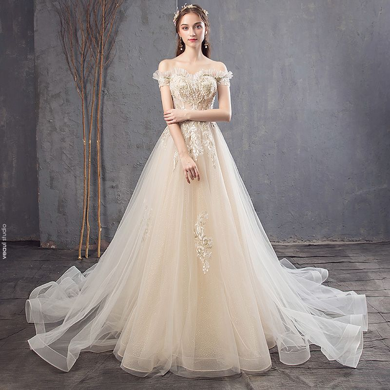 Champagne Fall Spring Summer Wedding Dresses Backless Crystal Flower Lace Pearl Sequins Tulle Wedding Elegant 2019