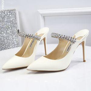 Schlicht Ivory / Creme Freizeit Sandalen Damen 2020 Leder Strass Schnalle 10 cm Stilettos Spitzschuh Sandaletten