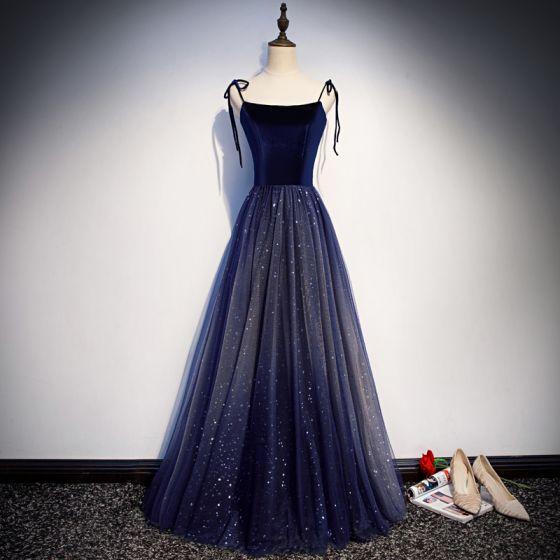 Sternenklarer Himmel Marineblau Wildleder Abendkleider 2019 A Linie Spaghettiträger Ärmellos Glanz Pailletten Lange Rüschen Rückenfreies Festliche Kleider