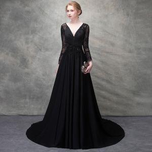 Piękne Czarne Sukienki Wieczorowe 2017 Princessa Frezowanie Kryształ Z Koronki Sztuczne Kwiaty Przebili V-Szyja Bez Pleców Długie Rękawy Trenem Sweep Sukienki Wizytowe