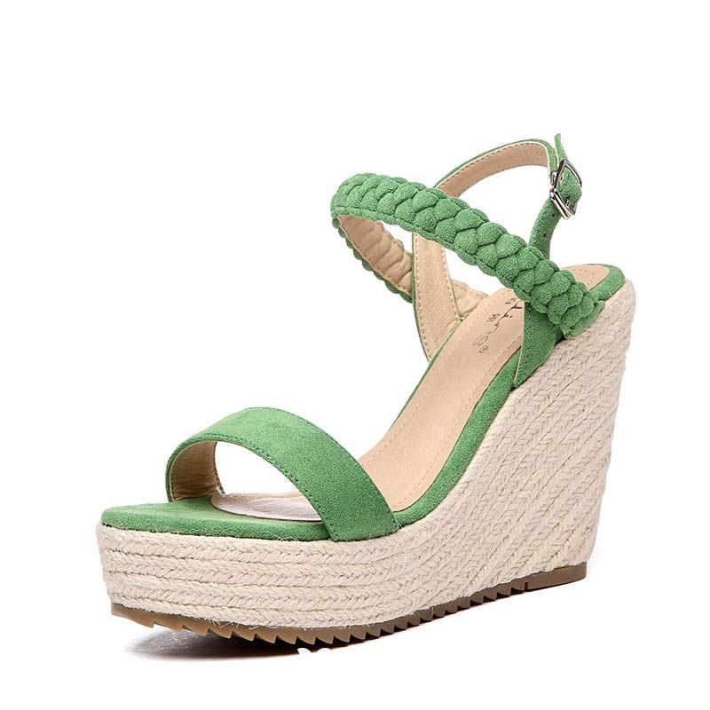 Chic / Beautiful Outdoor / Garden Sandals 2017 PU Braid High Heels Wedges Open / Peep Toe