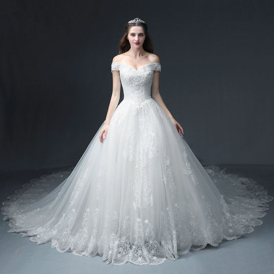 Luxury / Gorgeous White Wedding Dresses 2018 A-Line / Princess Off-The-Shoulder Short Sleeve Backless Appliques Lace Beading Glitter Tulle Ruffle Cathedral Train