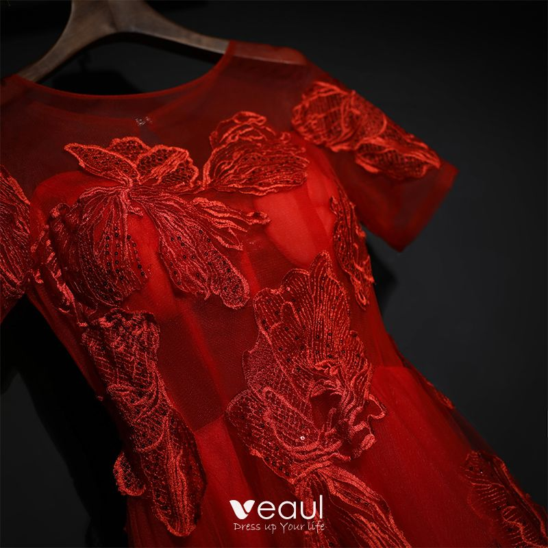 Chic / Beautiful Red Formal Dresses Evening Dresses  2017 Lace Flower Sequins Scoop Neck Short Sleeve Sweep Train A-Line / Princess
