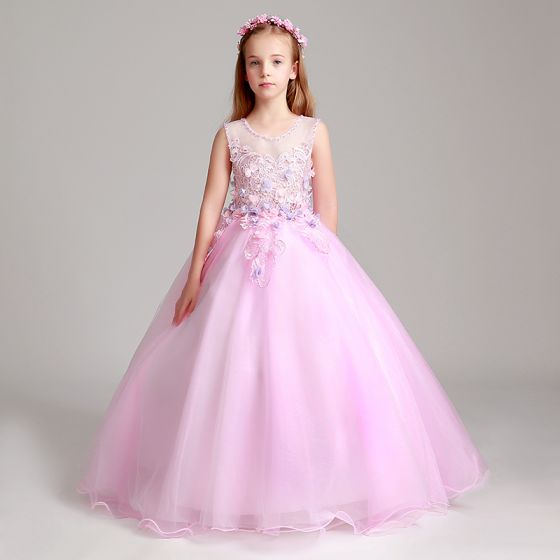 Chic / Beautiful Blushing Pink Flower Girl Dresses 2017 Ball Gown Pearl Scoop Neck Sleeveless Lace Appliques Flower Floor-Length / Long Ruffle Wedding Party Dresses