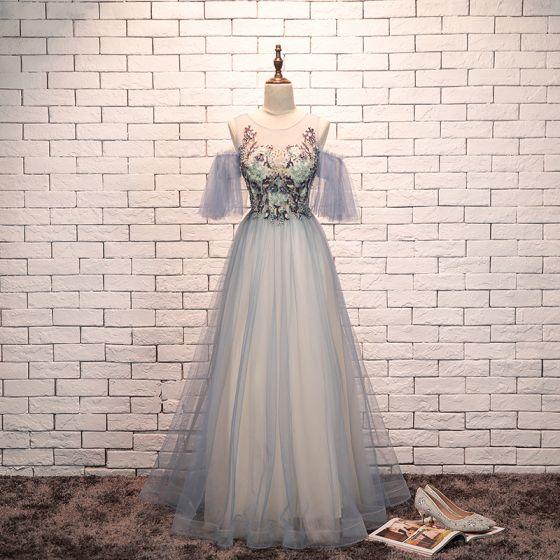 Eleganckie Błękitne Sukienki Wieczorowe 2019 Princessa Wycięciem Frezowanie Z Koronki Kwiat Kótkie Rękawy Bez Pleców Długie Sukienki Wizytowe