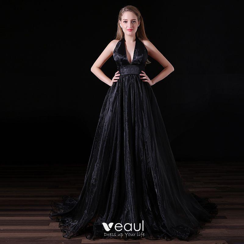 93a77b5941d Sexy Negro Vestidos de noche 2018 A-Line / Princess V-Cuello Halter Sin  Espalda Sin Mangas ...