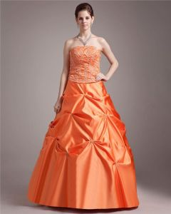 Ball Gown Satin Applique Beading Strapless Floor Length Quinceanera Prom Dresses