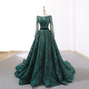 Luxury / Gorgeous Dark Green Prom Dresses 2019 A-Line / Princess Square Neckline Long Sleeve Glitter Sequins Court Train Ruffle Backless Formal Dresses