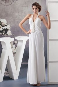 Unique Sheath Halter White Evening Dress