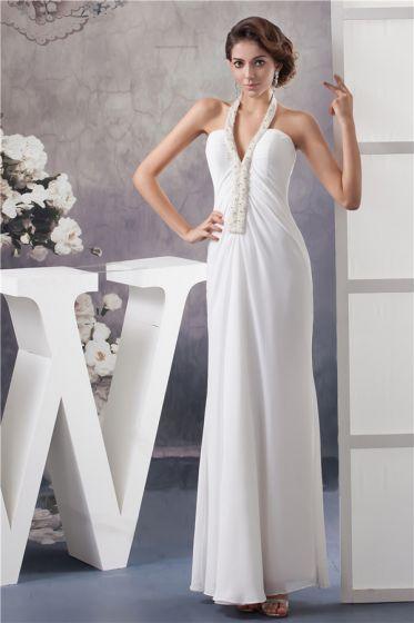 Unique Sheath Halter White Evening Dress