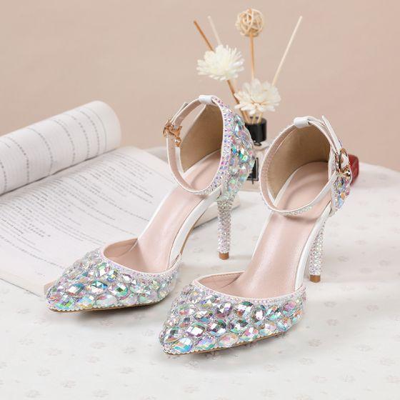 Sexy Multi-Couleurs Faux Diamant Chaussure De Mariée 2020 Bride Cheville 8 cm Talons Aiguilles À Bout Pointu Mariage Talons