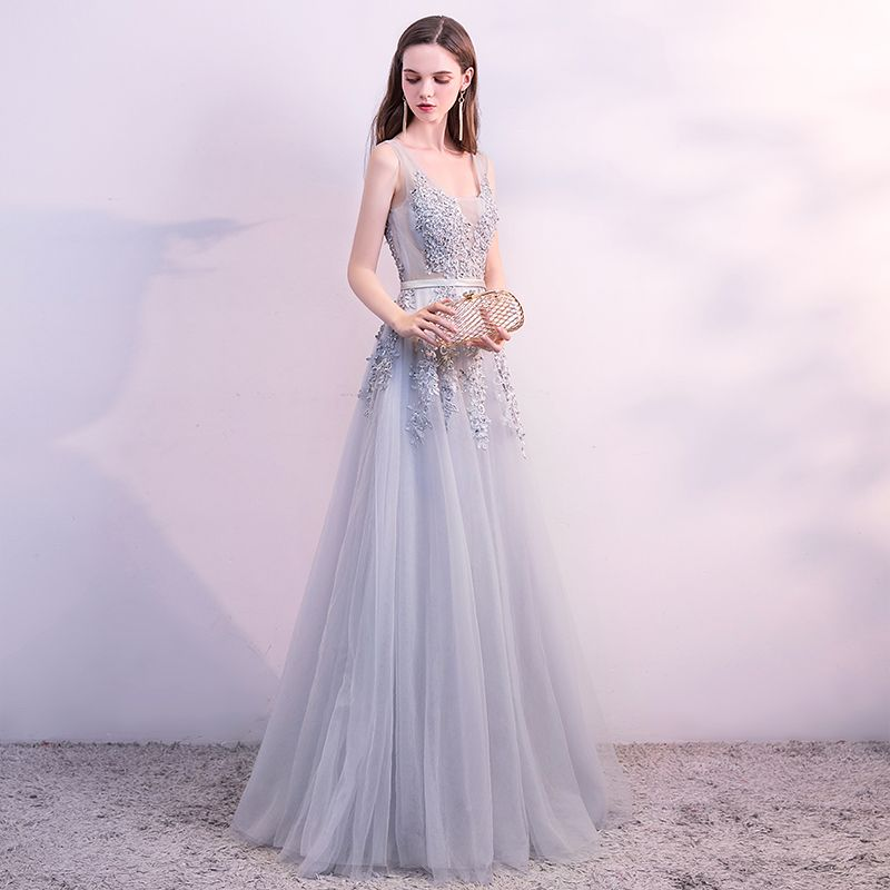 Chic / Beautiful Grey Evening Dresses  2018 A-Line / Princess Lace Flower Pearl Sequins Sash U-Neck Sleeveless Backless Floor-Length / Long Formal Dresses