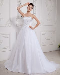Satin Tulle Beading Chapel Strapless Bridal Ball Gown Wedding Dress