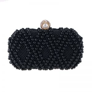 Luxury / Gorgeous Black Beading Pearl Metal Clutch Bags 2018