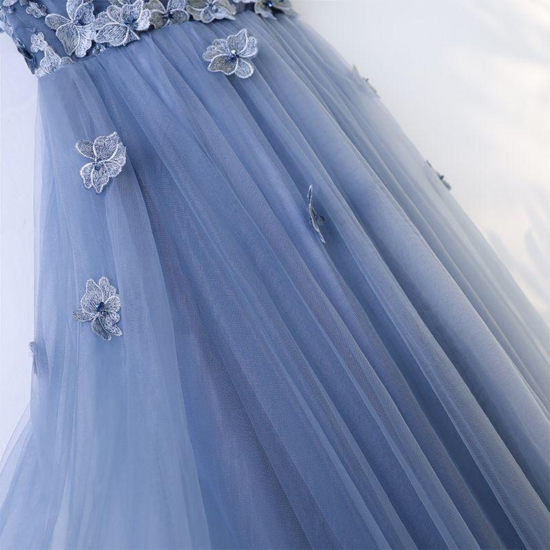 Schöne Meeresblau Ballkleider 2017 A Linie Gekreuzte Träger Applikationen Blumen Spitze Tülle Rundhalsausschnitt Ärmellos Wadenlang