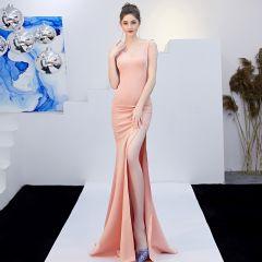 Charming Pearl Pink Evening Dresses  2019 Trumpet / Mermaid V-Neck Sleeveless Backless Split Front Sweep Train Formal Dresses