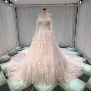 Best Champagne Wedding Dresses 2019 Princess Off-The-Shoulder Sweetheart Long Sleeve Backless Appliques Lace Crystal Beading Glitter Tulle Cathedral Train Ruffle