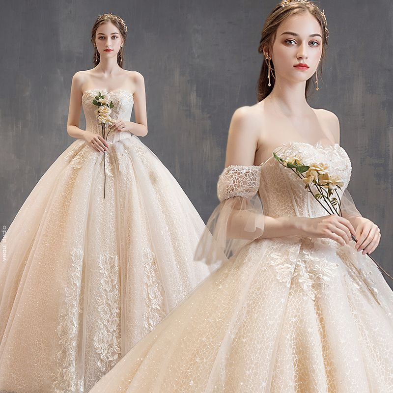 Charming Champagne Wedding Dresses 2019 Ball Gown Strapless Beading Lace Flower Short Sleeve Backless Cathedral Train