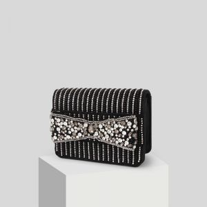 Chic / Beautiful Black Beading Rhinestone Clutch Bags 2019