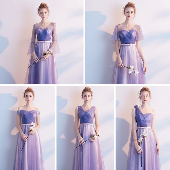 Chic / Beautiful Affordable Lavender Bridesmaid Dresses 2019 A-Line / Princess Bow Sash Floor-Length / Long Ruffle Backless Wedding Party Dresses