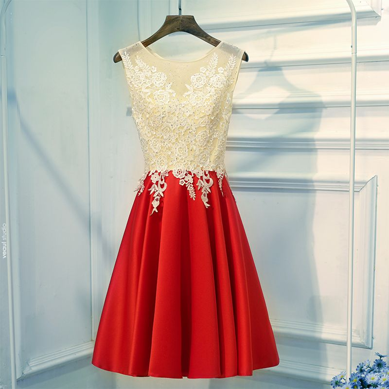 Chic / Beautiful Red Graduation Dresses 2017 A-Line / Princess Lace Flower Sequins Zipper Up Scoop Neck Sleeveless Short Formal Dresses