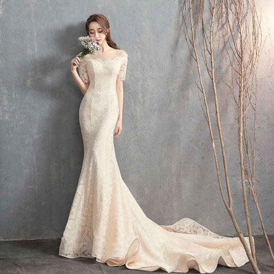 hermoso champán vestidos de novia 2018 trumpet / mermaid con encaje