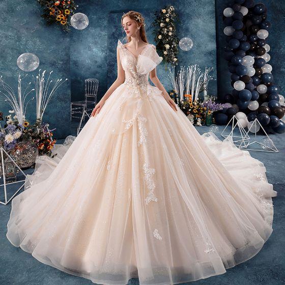c4802c315f Eleganckie Szampan Suknie Ślubne 2019 Suknia Balowa Najpiękniejsze    Ekskluzywne V-Szyja Bez Rękawów Bez Pleców Aplikacje ...