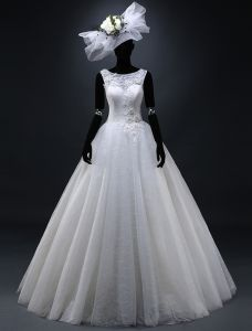 2015 Ball Gown Shoulders Appliques Lace Beading Flowers Wedding Dress