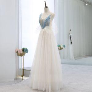 Sexy Beige Evening Dresses  2018 Empire Spaghetti Straps V-Neck Sleeveless Beading Sash Floor-Length / Long Ruffle Backless Formal Dresses