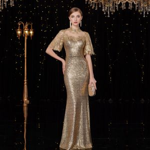 Sparkly Gold Sequins Pierced Evening Dresses  2019 Trumpet / Mermaid High Neck 1/2 Sleeves Floor-Length / Long Glitter Formal Dresses