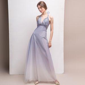 Sexy Gradient-Color Evening Dresses  2018 A-Line / Princess Halter Sleeveless Beading Floor-Length / Long Ruffle Backless Formal Dresses