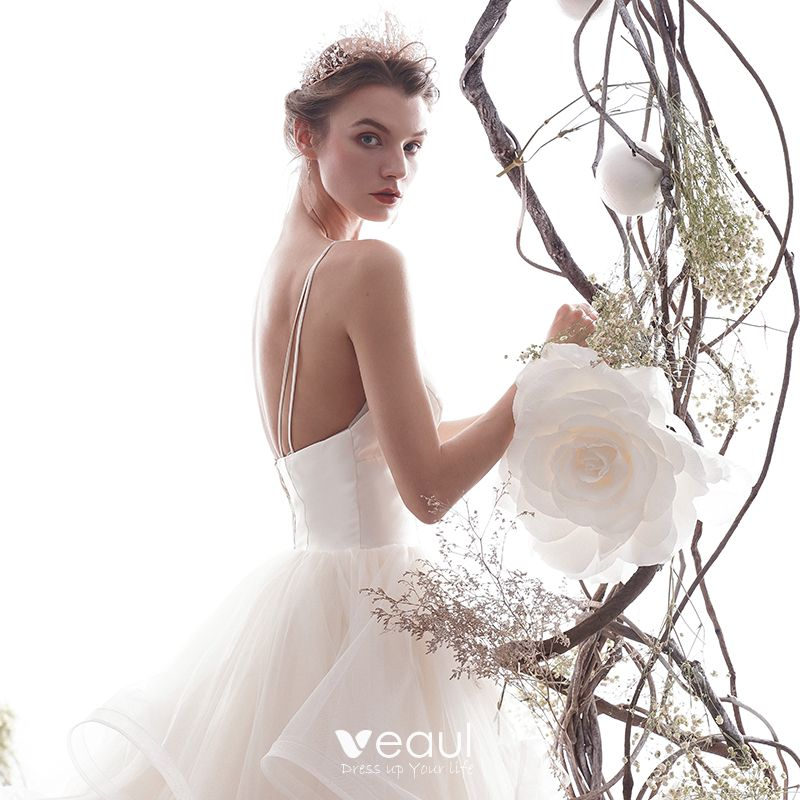 Elegant Ivory Wedding Dresses 2019 A-Line / Princess Spaghetti Straps Sleeveless Backless Cascading Ruffles Cathedral Train