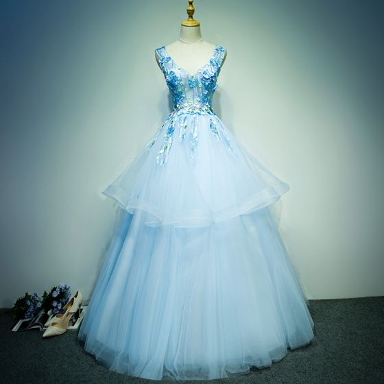 Affordable Prom Dresses 2017 Sky Blue Floor-Length / Long Ball Gown Cascading Ruffles V-Neck Sleeveless Backless Lace Appliques Flower