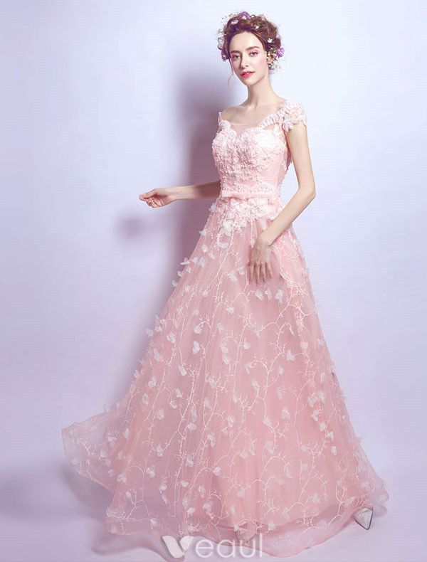 Charming Long Evening Dress With Lace Pink Tulle Off The Shoulder Dress