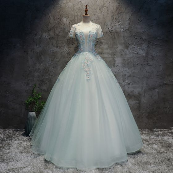 Modern / Fashion Multi-Colors Prom Dresses 2017 Ball Gown Scoop Neck Short Sleeve Appliques Lace Flower Sequins Beading Pearl Floor-Length / Long Ruffle Pierced Backless Formal Dresses