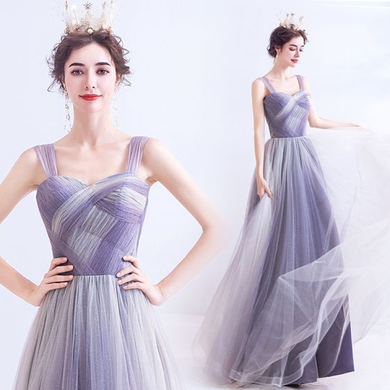 Classy Lavender Prom Dresses 2020 A-Line / Princess Square Neckline Sleeveless Backless Floor-Length / Long Formal Dresses