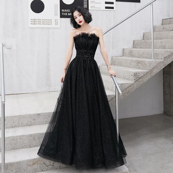 Charming Black Evening Dresses  2020 A-Line / Princess Ruffle Strapless Sequins Backless Sleeveless Sweep Train Formal Dresses