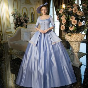 Vintage / Retro Traditional Ocean Blue Floor-Length / Long Ball Gown Prom Dresses 2018 U-Neck Charmeuse Lace-up Backless Prom Formal Dresses