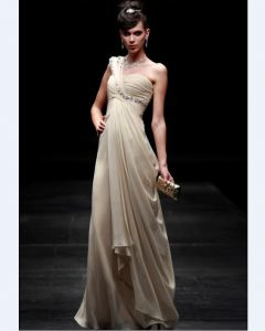 One Shoulder Floor-length Composite Filament Evening Dress