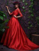 2016 Glamourösen U-ausschnitt Rückenfreie Sicken Roten Satin Abendkleid