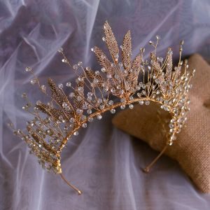 Chic / Beautiful Gold Bridal Hair Accessories 2020 Alloy Metal Rhinestone Tiara Wedding Accessories