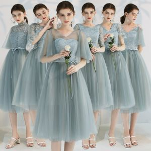 Affordable Green Bridesmaid Dresses 2019 A-Line / Princess Appliques Lace Ruffle Sash Tea-length Backless Wedding Party Dresses